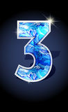 Number blue shine design. Blue frost winter number three on dark background isolated. Blue frost illustration number 3 for winter date design. Number 3 icon Stock Images