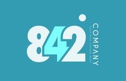 Number 842 blue white cyan logo icon design Stock Photo
