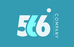 Number 566 blue white cyan logo icon design Stock Photography
