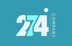 Number 274 blue white cyan logo icon design Royalty Free Stock Images