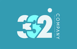 Number 332 blue white cyan logo icon design Royalty Free Stock Image