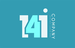 Number 141 blue white cyan logo icon design Royalty Free Stock Image