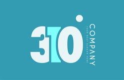 Number 310 blue white cyan logo icon design Stock Image