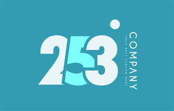 Number 253 blue white cyan logo icon design Stock Images