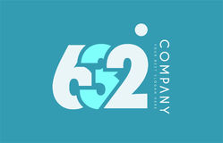 Number 632 blue white cyan logo icon design Royalty Free Stock Image
