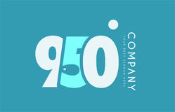 Number 950 blue white cyan logo icon design Stock Photography