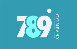 Number 789 blue white cyan logo icon design Royalty Free Stock Photos