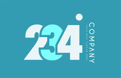 Number 234 blue white cyan logo icon design Royalty Free Stock Photos