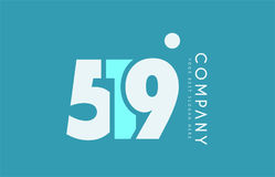 Number 519 blue white cyan logo icon design Stock Photography
