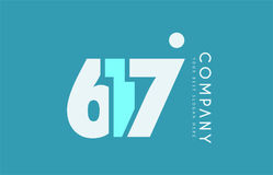 Number 617 blue white cyan logo icon design Stock Photos