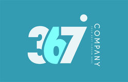 Number 367 blue white cyan logo icon design Royalty Free Stock Image