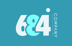 Number 684 blue white cyan logo icon design Stock Photography