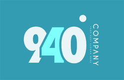 Number 940 blue white cyan logo icon design Stock Image