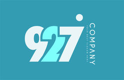 Number 927 blue white cyan logo icon design Royalty Free Stock Images
