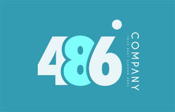 Number 486 blue white cyan logo icon design Royalty Free Stock Images