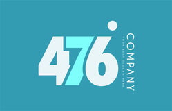 Number 476 blue white cyan logo icon design Royalty Free Stock Images