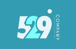 Number 529 blue white cyan logo icon design Royalty Free Stock Photos