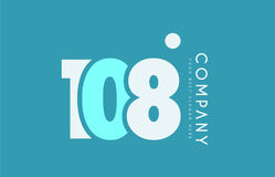Number 108 blue white cyan logo icon design Stock Photos
