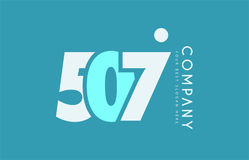 Number 507 blue white cyan logo icon design Stock Images