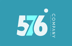Number 576 blue white cyan logo icon design Royalty Free Stock Photo