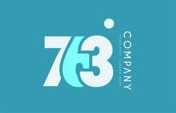 Number 763 blue white cyan logo icon design Stock Image