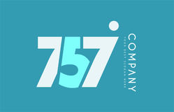 Number 757 blue white cyan logo icon design Royalty Free Stock Images