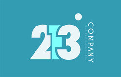 Number 213 blue white cyan logo icon design Stock Image