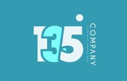 Number 135 blue white cyan logo icon design Stock Photos