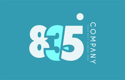 Number 835 blue white cyan logo icon design Royalty Free Stock Photos