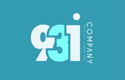 Number 931 blue white cyan logo icon design Royalty Free Stock Images
