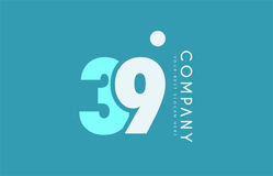 Number 39 blue white cyan logo icon design Stock Image