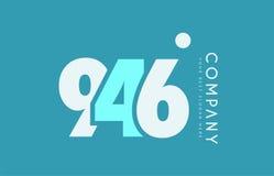 Number 946 blue white cyan logo icon design Stock Photos