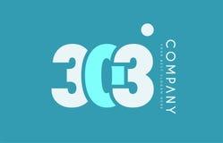 Number 303 blue white cyan logo icon design Stock Photos