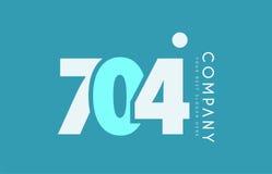 Number 704 blue white cyan logo icon design Royalty Free Stock Photo