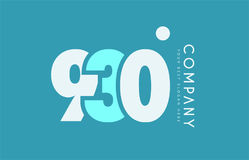 Number 930 blue white cyan logo icon design Stock Images