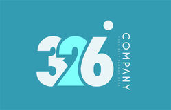 Number 326 blue white cyan logo icon design Royalty Free Stock Photography