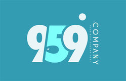 Number 959 blue white cyan logo icon design Royalty Free Stock Photography