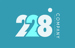 Number 228 blue white cyan logo icon design Royalty Free Stock Photography