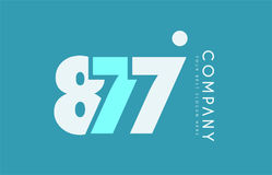 Number 877 blue white cyan logo icon design Stock Photography