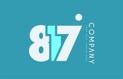 Number 817 blue white cyan logo icon design Stock Photo
