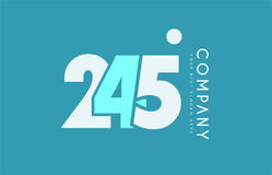 Number 245 blue white cyan logo icon design Stock Images
