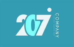 Number 207 blue white cyan logo icon design Royalty Free Stock Photos