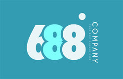 Number 688 blue white cyan logo icon design Royalty Free Stock Photo