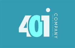 Number 401 blue white cyan logo icon design Stock Photos