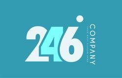 Number 246 blue white cyan logo icon design Royalty Free Stock Photos
