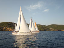 Number of boats. Along the shore under sail Stock Photography