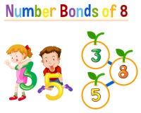Number bonds of eight. Illustration royalty free illustration