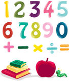 Number, books and apple Stock Photography