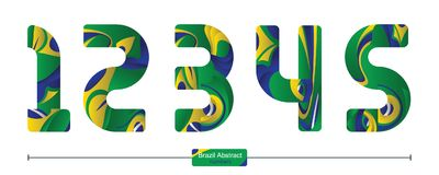 Number brazil abstract style in a set 12345. Vector graphic numbers in a set 1,2,3,4,5, with brazil abstract style Stock Photography