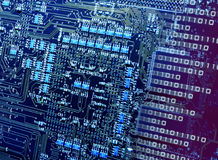 Number breaking cpu circuits. Computer electronic circuit cpu board breaking binary code royalty free stock photography